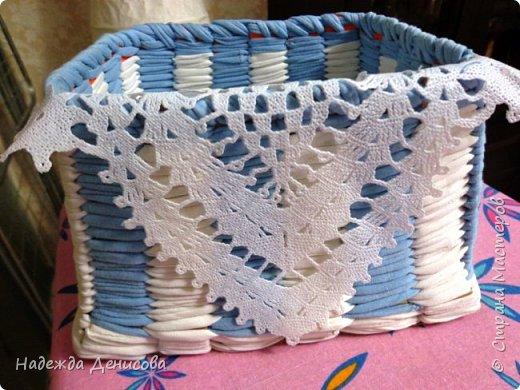 Мастер-класс Поделка изделие Плетение Корзинка из маек Картон Ткань фото 11