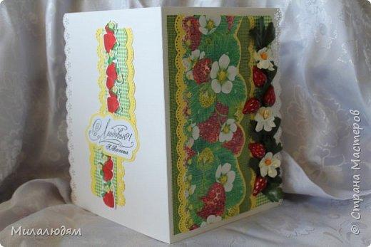 Всем здравствуйте! Сегодня я хочу похвастаться своими ягодными открыточками. В июле мне надо было поздравить родственницу с 45-летием. И вот родилась открыточка. Рамку я подглядела у Машуси на открытке с кошкой. Ее я тоже потом слифтила. (как-нибудь выложу) фото 10