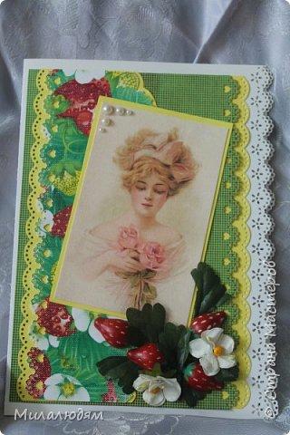 Всем здравствуйте! Сегодня я хочу похвастаться своими ягодными открыточками. В июле мне надо было поздравить родственницу с 45-летием. И вот родилась открыточка. Рамку я подглядела у Машуси на открытке с кошкой. Ее я тоже потом слифтила. (как-нибудь выложу) фото 4