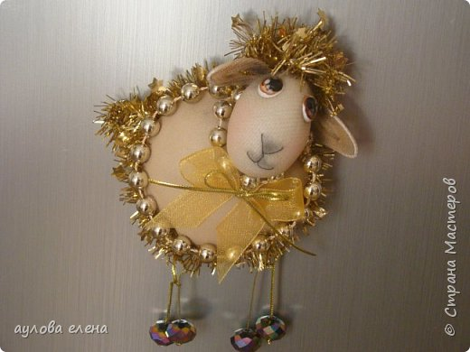 Мастер-класс Новый год Шитьё Магниты Овечки Капрон Картон Пряжа фото 40