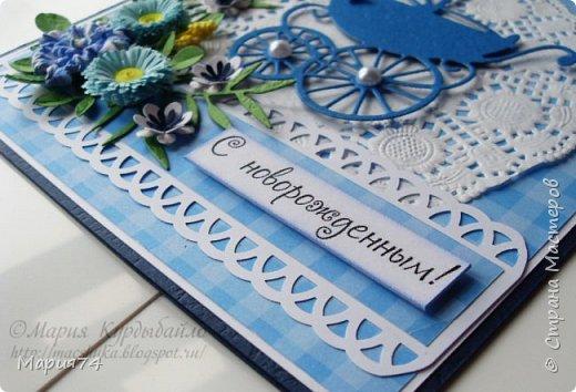 Всем привет! А у меня новая открыточка. И на этот раз это не крафт. Вот так-то, неожиданно... Открытка новорожденному - поскольку это мальчик, то на этот раз нежная, классически голубая клеточка (обожаю клеточку!!!). Вот такая всем комплектом: фото 5