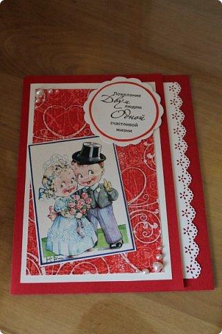 Мой первый опыт свадебной открытки. Открытка на заказ фото 4