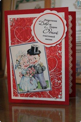 Мой первый опыт свадебной открытки. Открытка на заказ фото 5