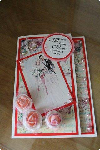 Мой первый опыт свадебной открытки. Открытка на заказ фото 1