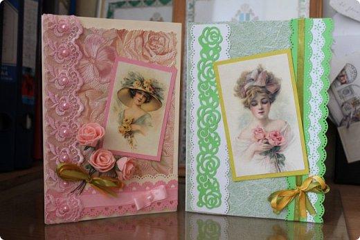 Выставляю на ваш суд серию женских открыток. Сделаны они в разное время. фото 1