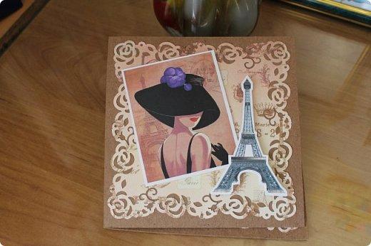 """Давно мечтала о Парижской теме и материал подобрала, а сделать все некогда. А тут надо было родственницу с днем рождения поздравить, а она когда-то бывала в Париже. и вот родилась открыточка """"Воспоминание о Париже"""" фото 1"""