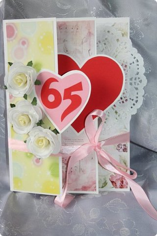 Юбилейная открытка. Такую форму подглядела у кого-то в интернете. http://fb.pinme.ru/pin/530ca4481f85119e7d2512bc/ фото 1