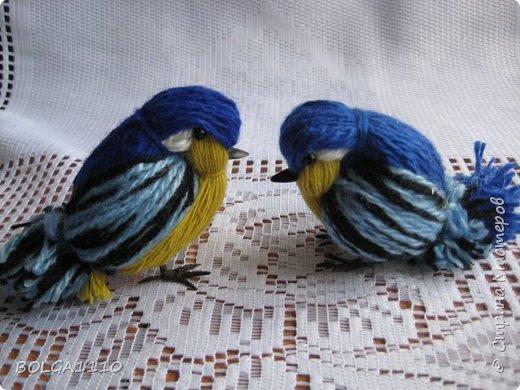 Как сделать синиц из ниток