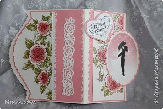Еще одна свадебная открытка. Пробовала форму. Только загрузила почему-то с конца. это спинка открытки фото 3