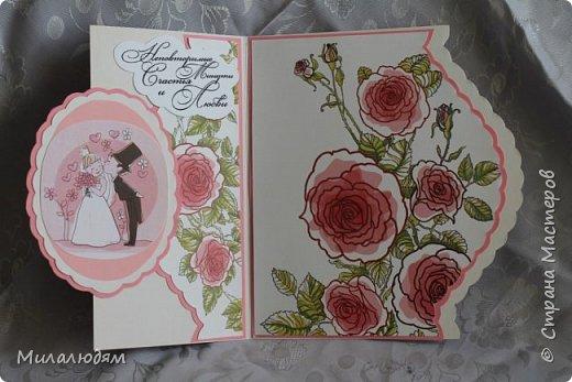 Еще одна свадебная открытка. Пробовала форму. Только загрузила почему-то с конца. это спинка открытки фото 2