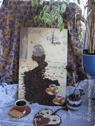 """""""Кофейный"""" комплект сделала в подарок своей знакомой: часы, подвеска и топиарий. фото 1"""
