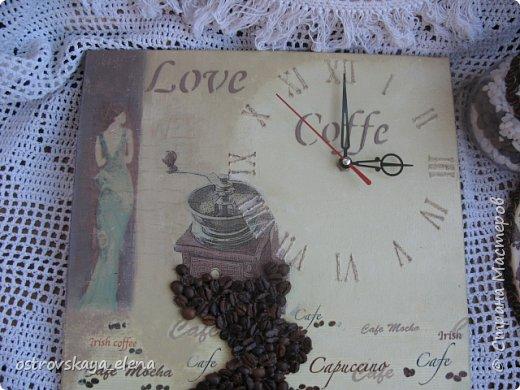 """""""Кофейный"""" комплект сделала в подарок своей знакомой: часы, подвеска и топиарий. фото 4"""