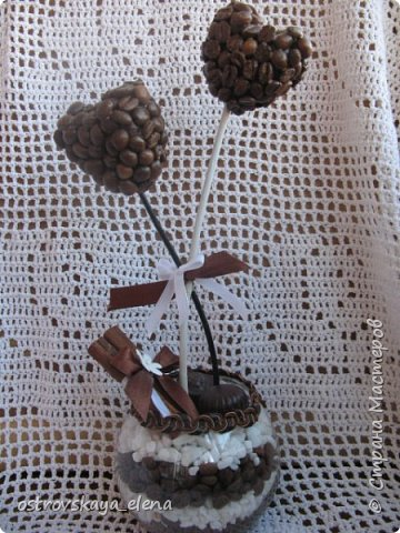 """""""Кофейный"""" комплект сделала в подарок своей знакомой: часы, подвеска и топиарий. фото 9"""