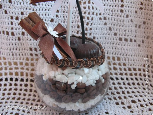 """""""Кофейный"""" комплект сделала в подарок своей знакомой: часы, подвеска и топиарий. фото 10"""