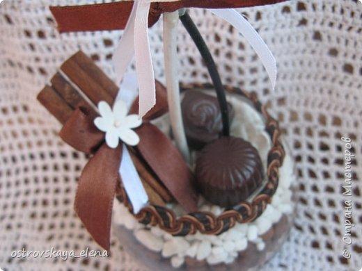 """""""Кофейный"""" комплект сделала в подарок своей знакомой: часы, подвеска и топиарий. фото 11"""