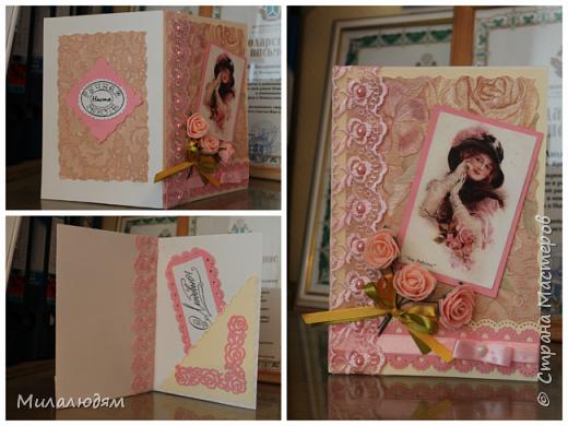 Выставляю работы своих кружковцев. Дамская серия открыток. Цветная офисная бумага, распечатки и обои. фото 1