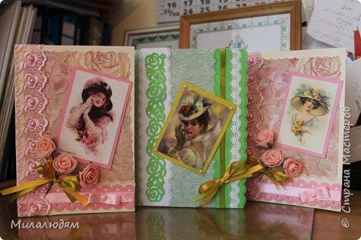 Выставляю работы своих кружковцев. Дамская серия открыток. Цветная офисная бумага, распечатки и обои. фото 3