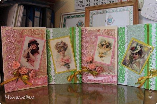 Выставляю работы своих кружковцев. Дамская серия открыток. Цветная офисная бумага, распечатки и обои. фото 6