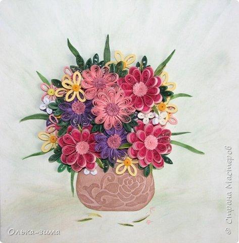 Добрый день. Хочу показать свой букетик, который сделала  в подарок маме. Идеи и вдохновение брала у Анастасии Бертовой. Спасибо большое за прекрасные работы.