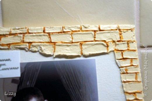 Подарок на деревянную свадьбу. Основа 3 мм лист мдф. Кирпичная кладка - шпатлевка, зубочистка (неровно она и была задумана, правда все равно кривовато очень в некоторых местах получилась:( ). фото 8