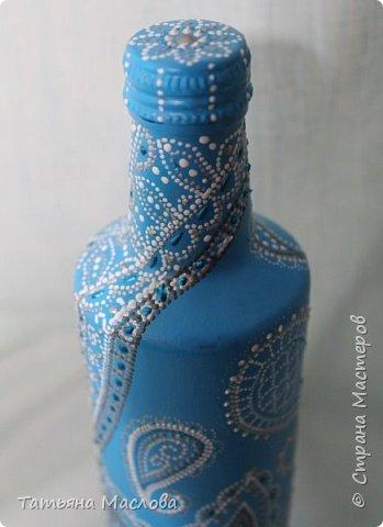 Декор предметов Роспись ЗИМНИЕ УЗОРЫ Бутылки стеклянные фото 3