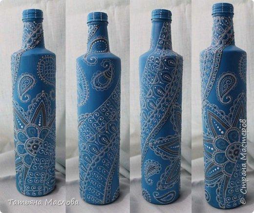 Декор предметов Роспись ЗИМНИЕ УЗОРЫ Бутылки стеклянные фото 1