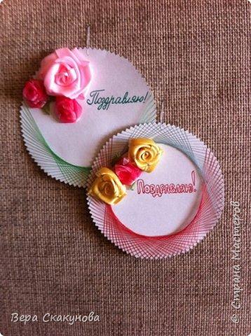 Эти открытки можно использовать как поздравление ко многим праздникам. Розы сделаны из ленты.