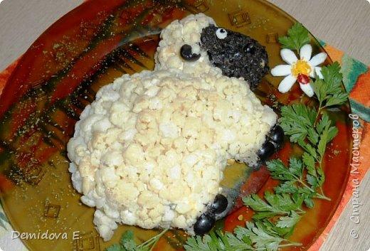 Мастер-класс Новый год Рецепт кулинарный Салат к Новому году Овечка        Символ года 2015 Продукты пищевые фото 17