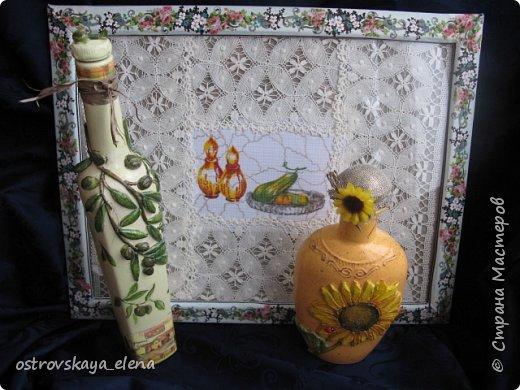 """Всем-ВСЕМ здравствуйте!!!!! Сегодня у меня кухонный комплект: декупаж, лепка, текстиль.... Сделала две бутылочки под масло - оливковое и подсолнечное, текстильную """"корзиночку"""" для них (бутылочек, прихватку и текстильную картину. фото 3"""