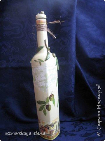 """Всем-ВСЕМ здравствуйте!!!!! Сегодня у меня кухонный комплект: декупаж, лепка, текстиль.... Сделала две бутылочки под масло - оливковое и подсолнечное, текстильную """"корзиночку"""" для них (бутылочек, прихватку и текстильную картину. фото 10"""