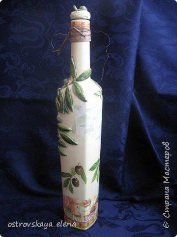 """Всем-ВСЕМ здравствуйте!!!!! Сегодня у меня кухонный комплект: декупаж, лепка, текстиль.... Сделала две бутылочки под масло - оливковое и подсолнечное, текстильную """"корзиночку"""" для них (бутылочек, прихватку и текстильную картину. фото 11"""