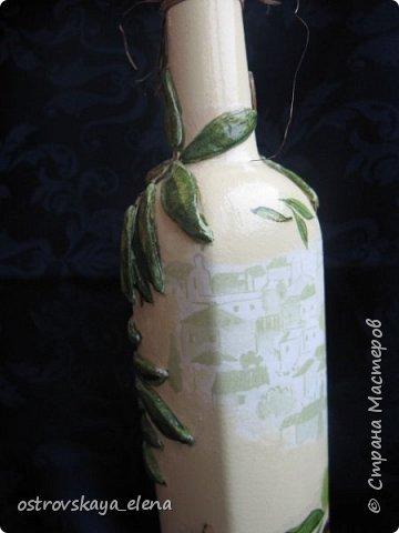 """Всем-ВСЕМ здравствуйте!!!!! Сегодня у меня кухонный комплект: декупаж, лепка, текстиль.... Сделала две бутылочки под масло - оливковое и подсолнечное, текстильную """"корзиночку"""" для них (бутылочек, прихватку и текстильную картину. фото 13"""