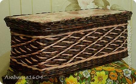 Здравствуйте, дорогие соседи!  В первую очередь выставляю несколько своих плетенок. Это коробка для хранения бантиков-резинок.