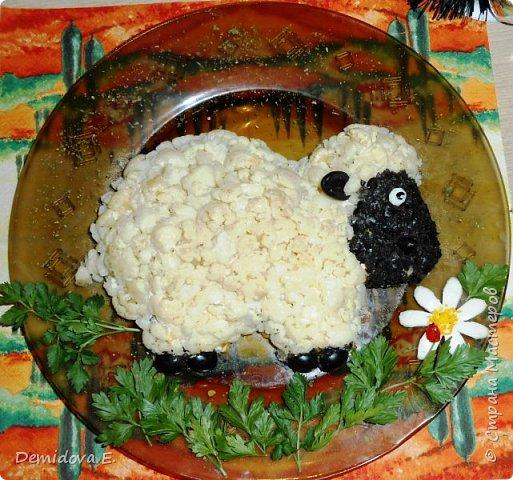 Кулинария Мастер-класс Новый год Рецепт кулинарный Салат к Новому году Овечка 2015 год Продукты пищевые фото 1
