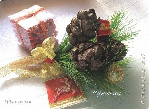Мастер-класс Новый год Шишки из конфет мастер класс Бумага гофрированная фото 11