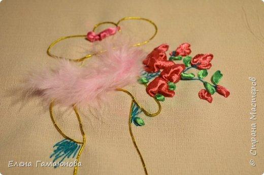 Текстильная Арома Открытка.Вышитые розочки ароматизированы маслом Английской розы.  фото 4