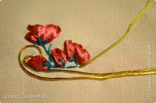 Текстильная Арома Открытка.Вышитые розочки ароматизированы маслом Английской розы.  фото 5