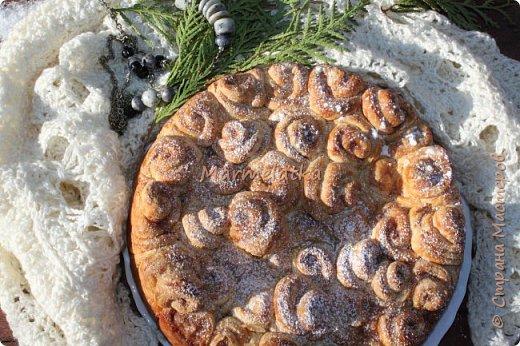 Вот такой зимний пирожок у меня получился. Запах корицы по всему дому, всего 40 минут и вот такая красота будет на вашем столе. Приготовьте, не пожалеете! фото 12