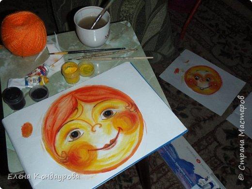 Картина панно рисунок Мастер-класс Роспись Шитьё   Мое СОЛНЫШКО  Краска Пряжа Ткань фото 3