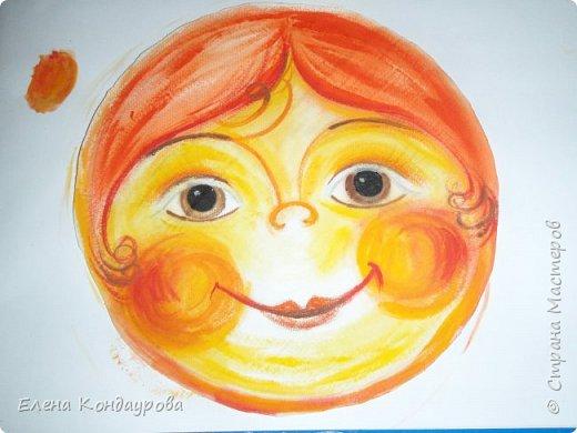 Картина панно рисунок Мастер-класс Роспись Шитьё   Мое СОЛНЫШКО  Краска Пряжа Ткань фото 4