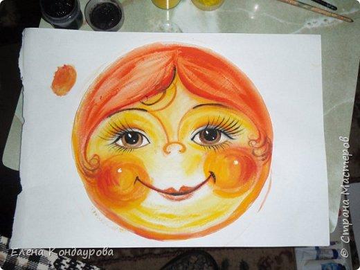 Картина панно рисунок Мастер-класс Роспись Шитьё   Мое СОЛНЫШКО  Краска Пряжа Ткань фото 6