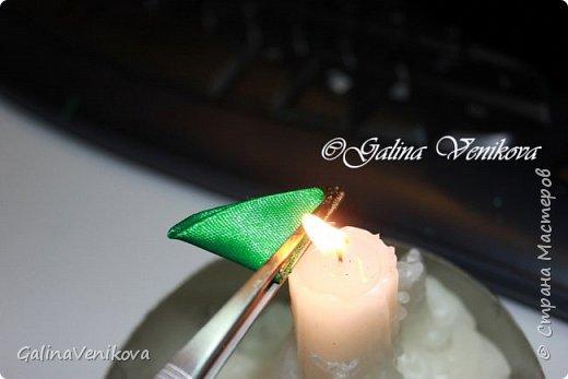 Мастер-класс Поделка изделие Новый год Цумами Канзаши Раз два три - ёлочка  готова Картон Клей Ленты фото 13