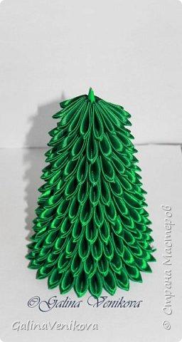 Мастер-класс Поделка изделие Новый год Цумами Канзаши Раз два три - ёлочка  готова Картон Клей Ленты фото 23