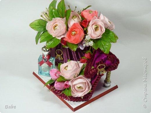 Доброго времени суток СМ! Приготовила подарочки на Дни Рождения близким людям. Вот они... Дамский набор: сумочка, туфля, парфюм. (в сумочке - конфеты)