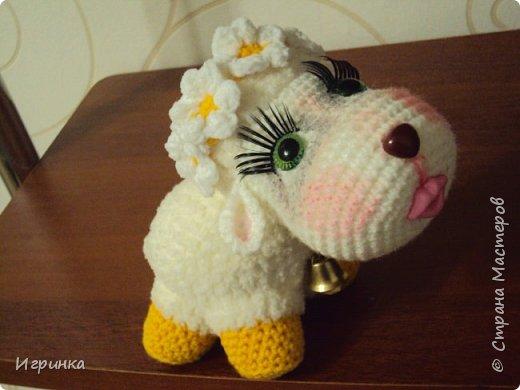 Здравствуйте жители нашей СМ! У меня снова овцы по МК Татьяны Хисматуллиной, уж очень мне понравилось оформлять этих персонажей, каждый со своим характером и сам диктует кем быть и как нарядиться. Вот, например, последняя овечка - и цветочки ей предлагала, и бантики, и шляпку связала, и косыночку, еще веночек из готовых цветочков - все напрочь отвергла. Согласилась только на веночек из нового онлайна на форуме амигуруми, но как, оказывается, он ей идет... фото 1