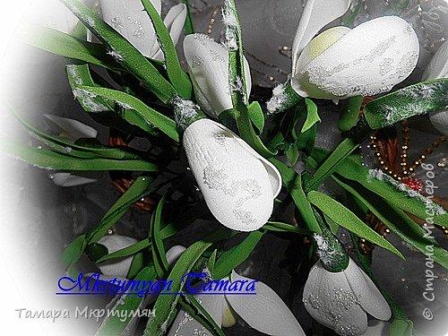Мастер-класс Флористика искусственная Новый год Моделирование конструирование МК подснежников Клей Проволока Фоамиран фом фото 36