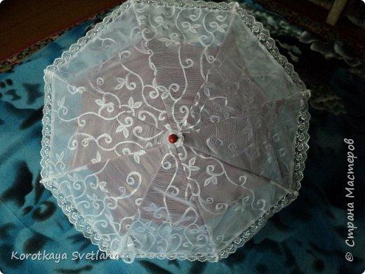 """Сегодня я с новой работой! Вот такой маленький зонтик. Для его основы купила в магазтне """"все по 40"""" зонтик. Внутри подкладку подбирала в тон ручки.  фото 1"""