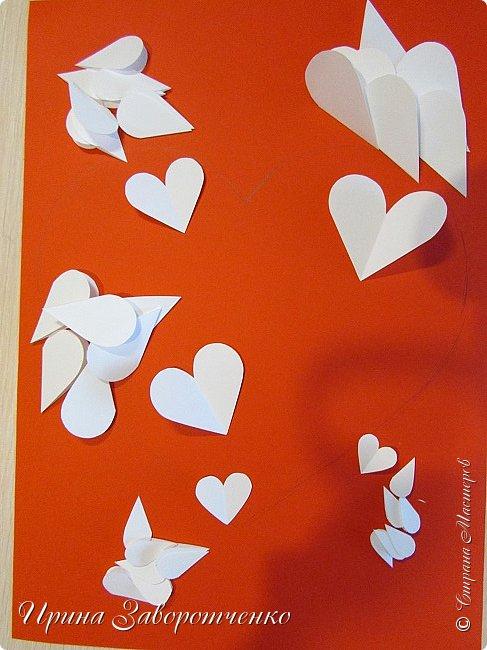 Картина панно рисунок Мастер-класс Валентинов день Аппликация Бумагопластика Панно из сердечек Белое на красном + МК Бумага Клей фото 6