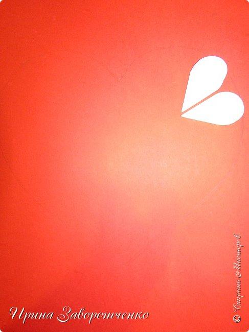 Картина панно рисунок Мастер-класс Валентинов день Аппликация Бумагопластика Панно из сердечек Белое на красном + МК Бумага Клей фото 7