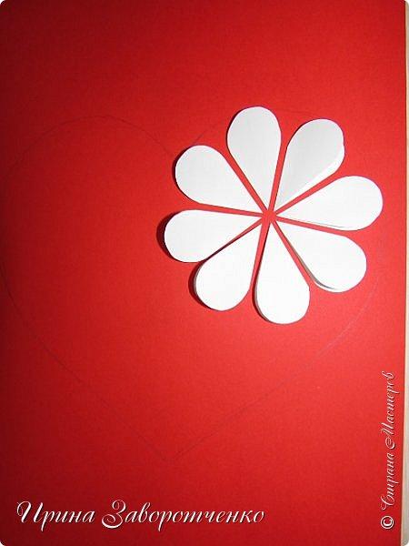 Картина панно рисунок Мастер-класс Валентинов день Аппликация Бумагопластика Панно из сердечек Белое на красном + МК Бумага Клей фото 9